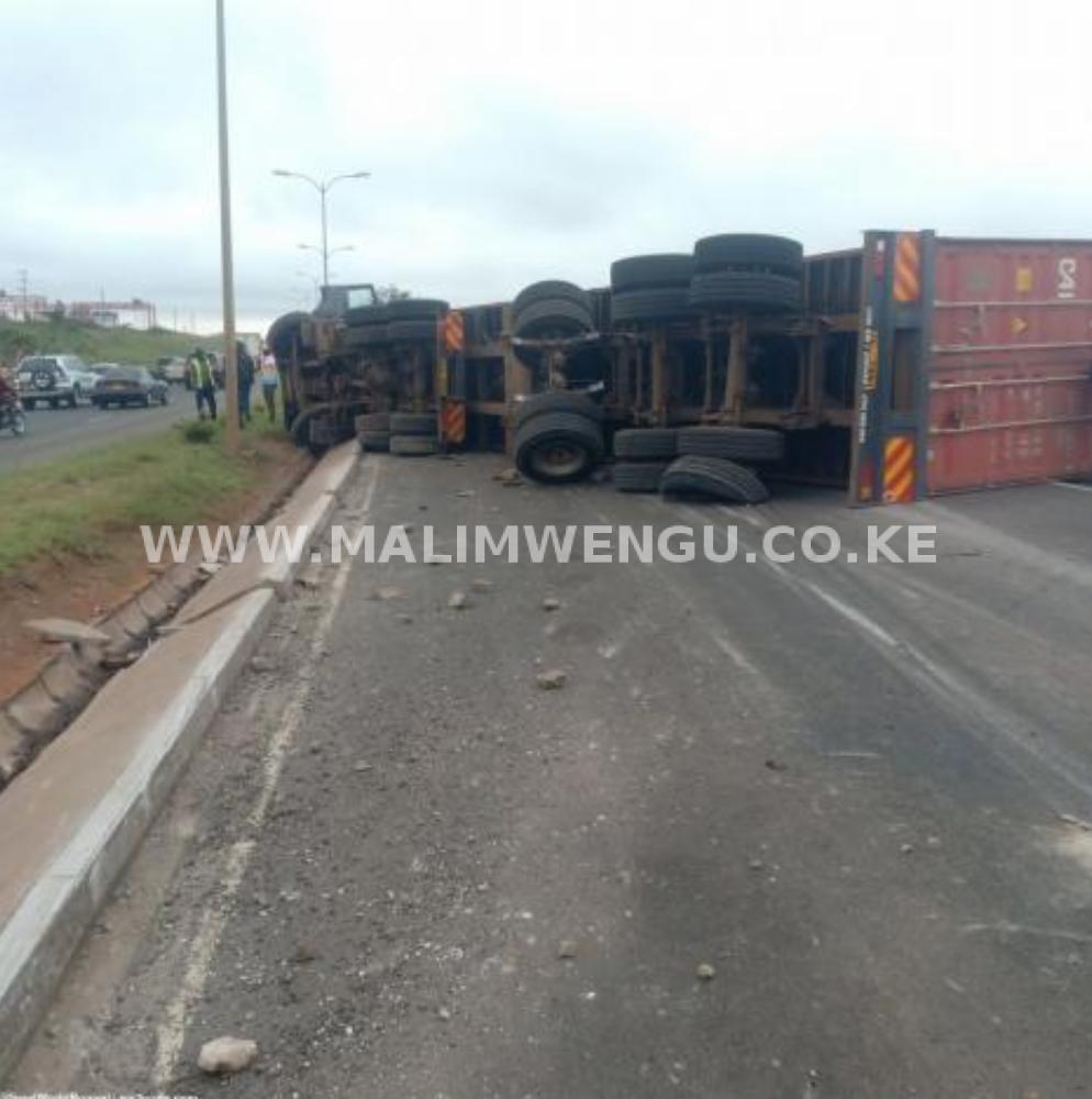 Overturned truck along Langata raod